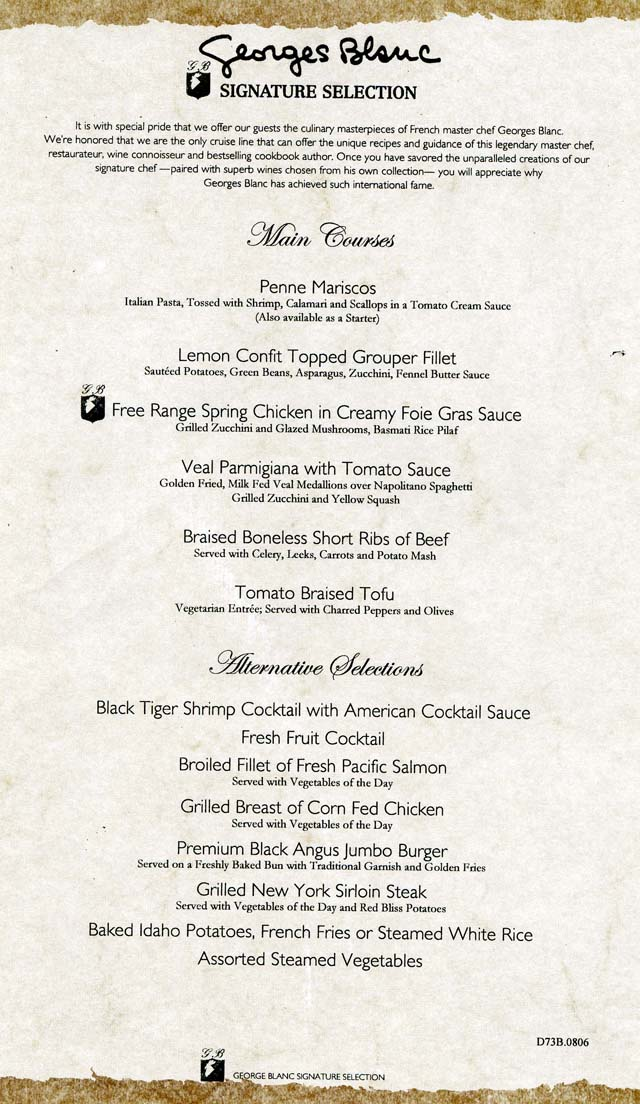 Cruiseclues Carnival Cruise Lines Carnival Valor Dinner Menus Cruise Food D