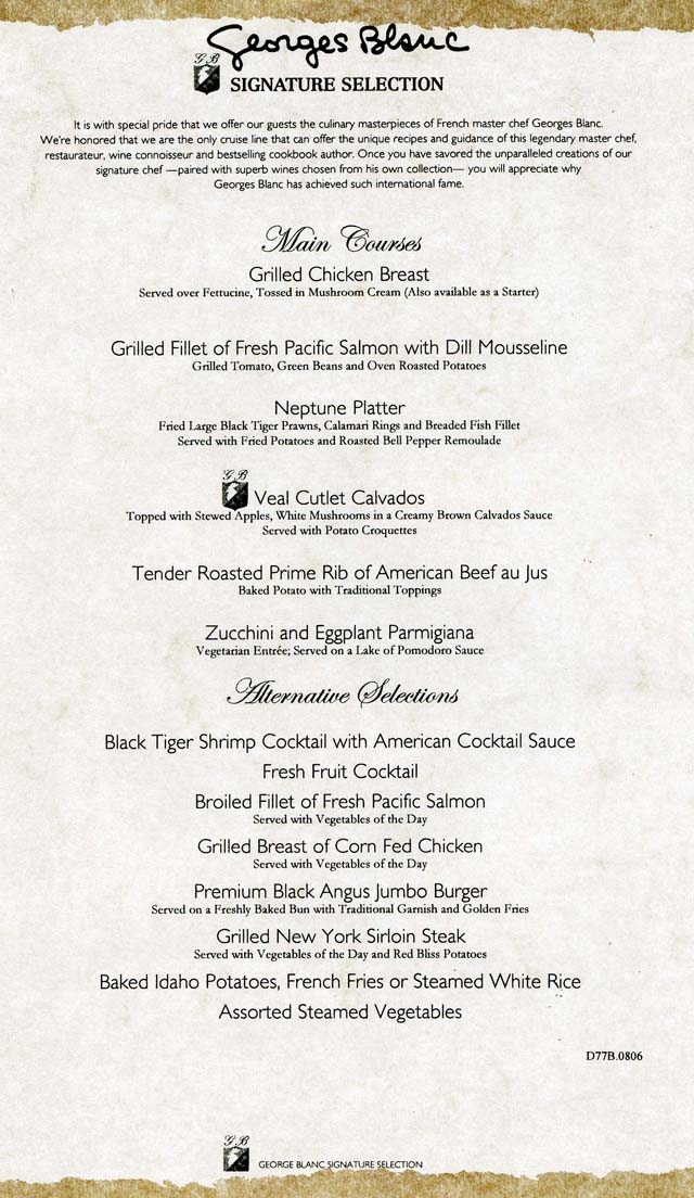 Cruiseclues Carnival Cruise Lines Carnival Valor Dinner Menus Cruise Food Dining
