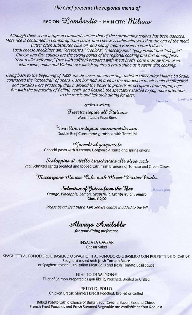 Cruiseclues Costa Cruises Costa Mediterranea Dinner Menus