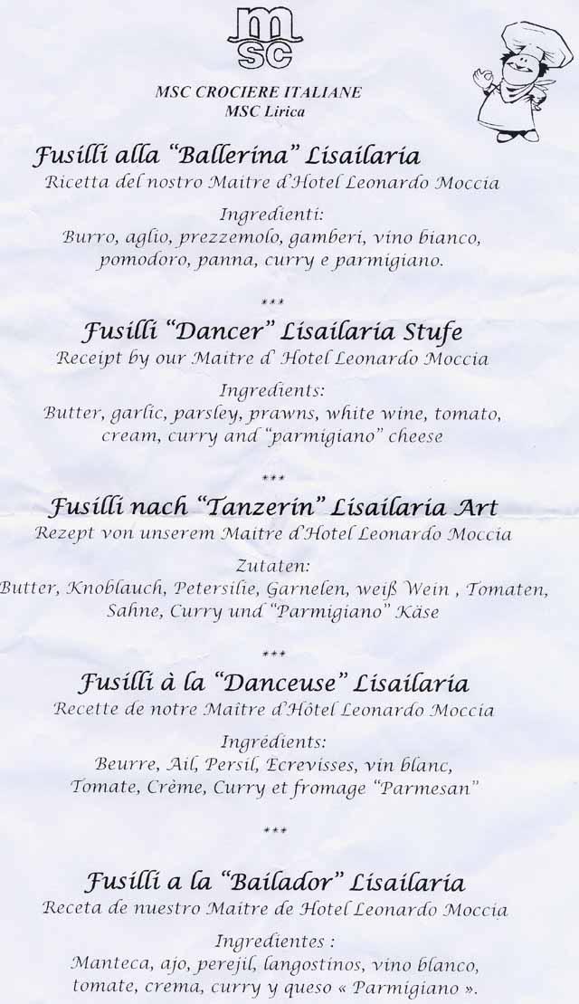 Hangon casino menu