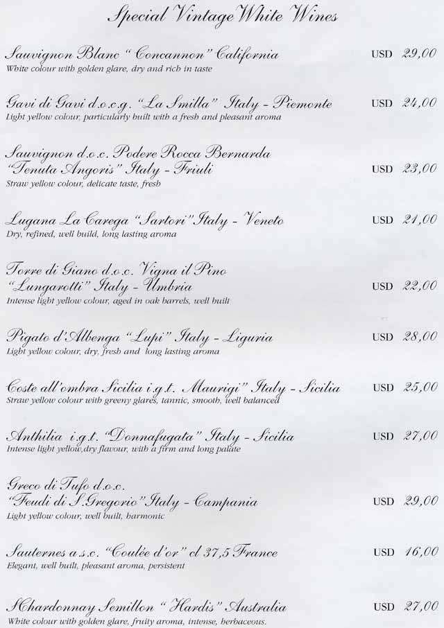 Celebrity reflection wine menu templates