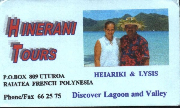Business Card for Hinerani Tours with Lysis