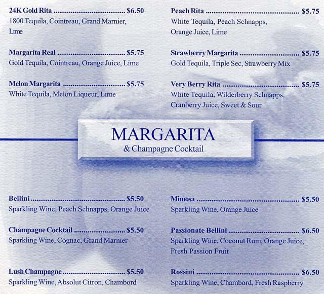 cruiseclues princess cruises star princess bar menus drink prices