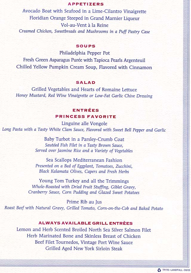 Holland American Room Service Menu