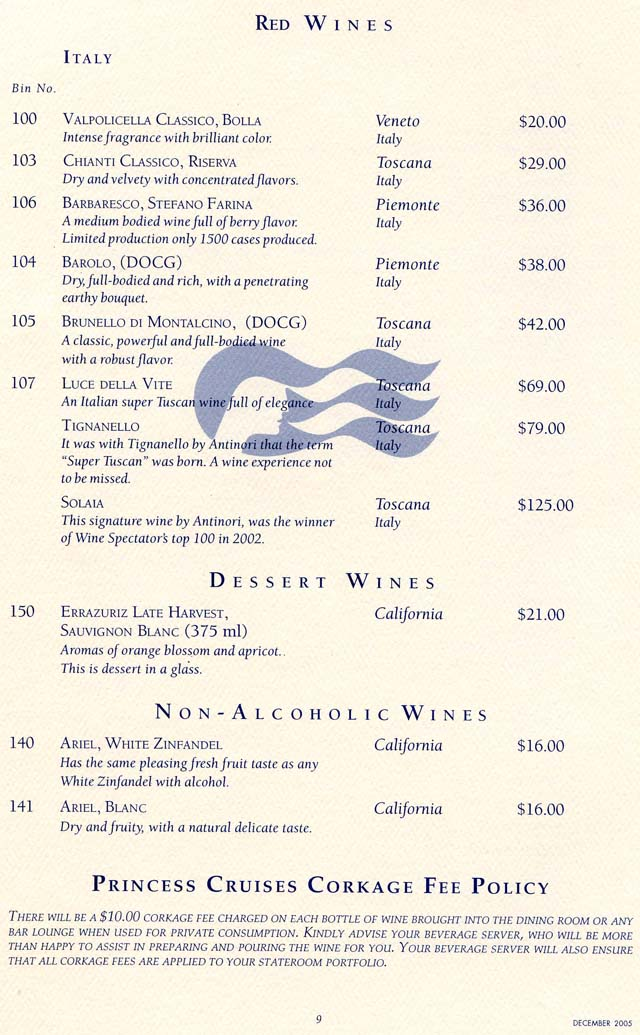 Star Princess Wine List December 2005 Page 4, White Wines, Italy ...